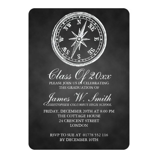 Graduation Chalkboard Vintage Compass Black Card
