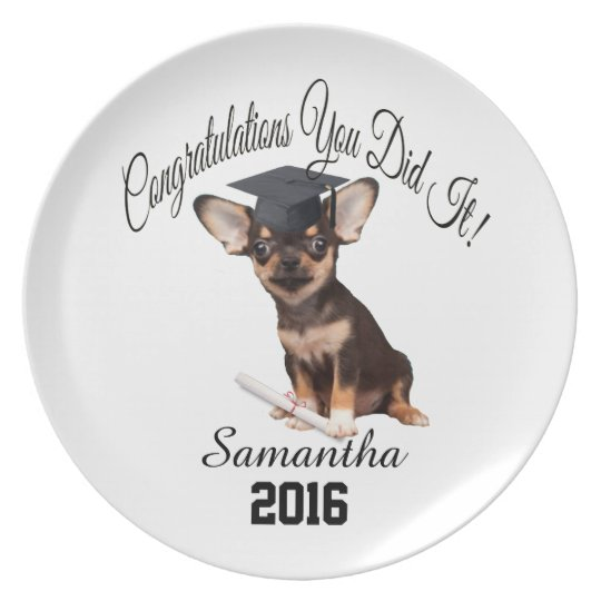 Graduation Chihuahua personalised plate