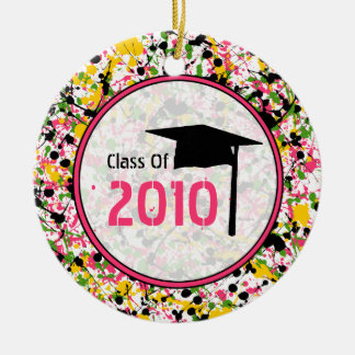Graduation Class of 2010 Multicolor Paint Splatter Double-Sided Ceramic Round Christmas Ornament