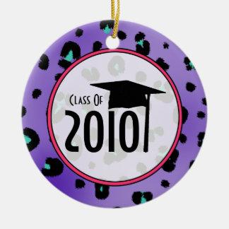 Graduation Class of 2010 Purple Leopard Print Double-Sided Ceramic Round Christmas Ornament