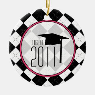 Graduation Class of 2011 Black Argyle Round Ceramic Decoration