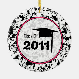 Graduation Class of 2011 Black Paint Splatter Christmas Tree Ornaments