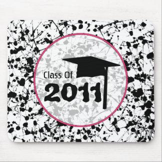 Graduation Class Of 2011 Black Paint Splatter Mousepads