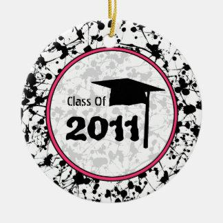 Graduation Class of 2011 Black Paint Splatter Round Ceramic Decoration