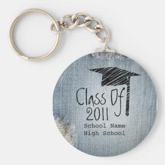 Graduation Class Of 2011 - Faded Blue Jeans Key Chain