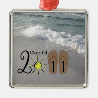 Graduation Class Of 2011 Flip Flops & Ocean Waves Christmas Ornaments