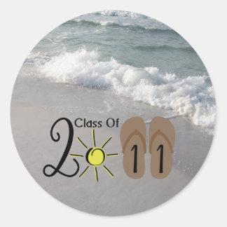 Graduation Class Of 2011 Flip Flops & Ocean Waves Round Sticker