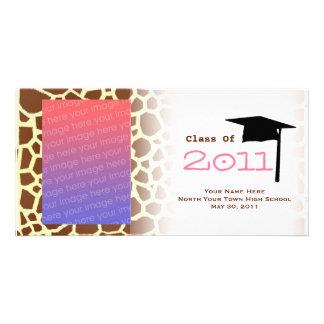 Graduation Class Of 2011 Giraffe Print Photocard Photo Greeting Card