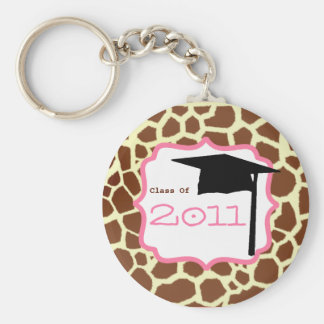 Graduation Class Of 2011 - Giraffe Print & Pink Basic Round Button Key Ring