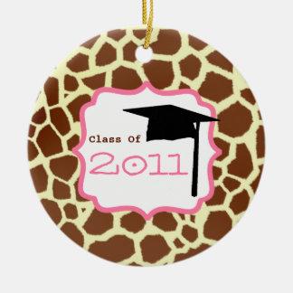 Graduation Class Of 2011 Giraffe Print & Pink Christmas Tree Ornament