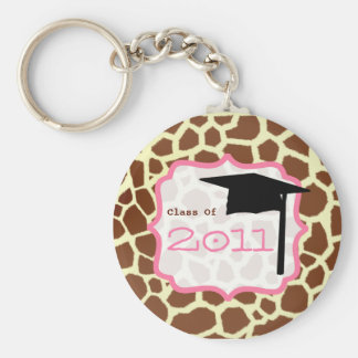 Graduation Class Of 2011 - Giraffe Print & Pink Key Chains