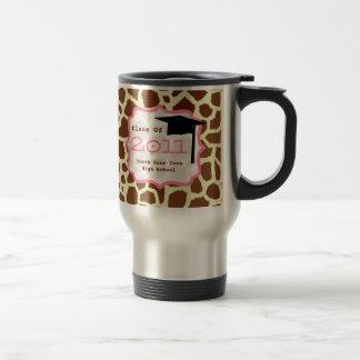Graduation Class of 2011 Giraffe Print & Pink Stainless Steel Travel Mug
