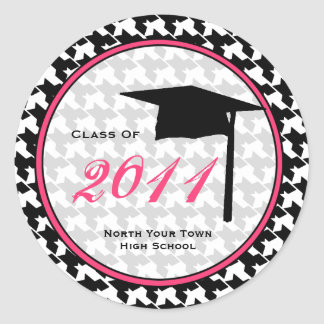 Graduation Class Of 2011 Houndstooth & Pink Classic Round Sticker