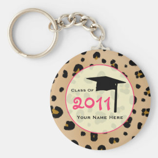 Graduation Class Of 2011 - Leopard Print & Pink Key Ring