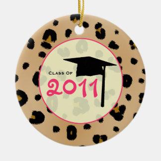 Graduation Class of 2011 Leopard Print & Pink Round Ceramic Decoration