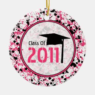 Graduation Class of 2011 Pink & Black Splatter Christmas Ornament