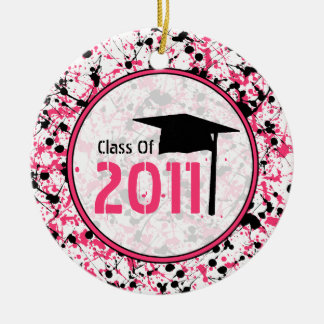 Graduation Class of 2011 Pink & Black Splatter Christmas Tree Ornament