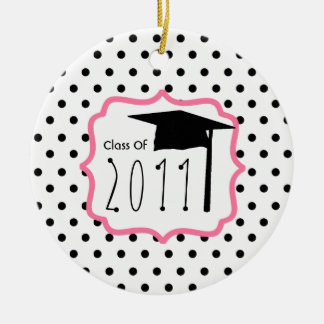 Graduation Class Of 2011 Polka Dot & Pink Double-Sided Ceramic Round Christmas Ornament