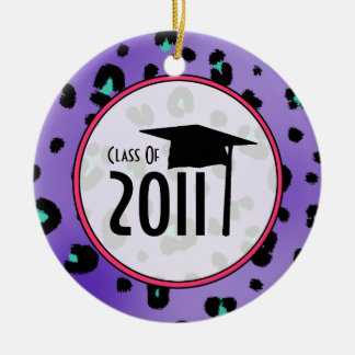 Graduation Class of 2011 Purple Leopard Print Christmas Ornament