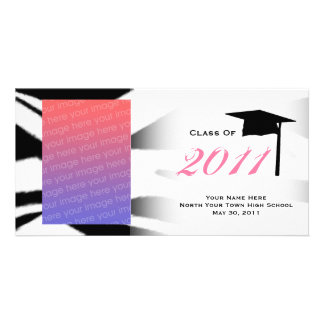 Graduation Class Of 2011 Zebra Print Photocard Customized Photo Card