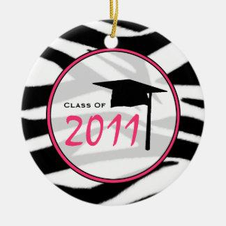 Graduation Class of 2011 Zebra Print & Pink Christmas Ornament
