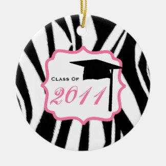 Graduation Class Of 2011 Zebra Print & Pink Christmas Tree Ornaments