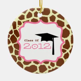 Graduation Class Of 2012 Giraffe Print & Pink Double-Sided Ceramic Round Christmas Ornament