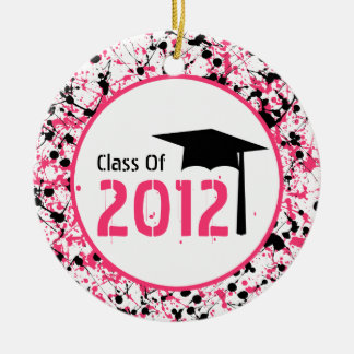 Graduation Class of 2012 Pink & Black Splatter Double-Sided Ceramic Round Christmas Ornament