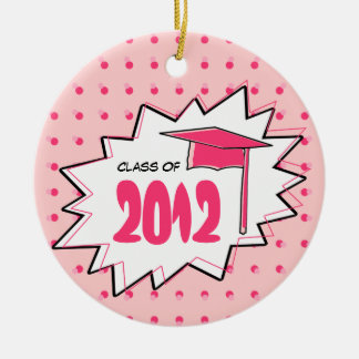 Graduation Class Of 2012 Pink Pop Art Double-Sided Ceramic Round Christmas Ornament