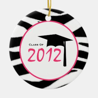 Graduation Class of 2012 Zebra Print & Pink Double-Sided Ceramic Round Christmas Ornament