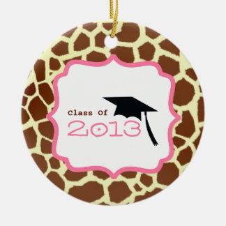 Graduation Class Of 2013 Giraffe Print & Pink Double-Sided Ceramic Round Christmas Ornament
