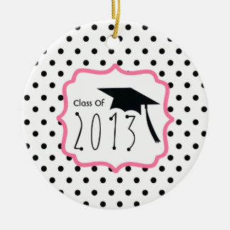 Graduation Class Of 2013 Polka Dot & Pink Double-Sided Ceramic Round Christmas Ornament