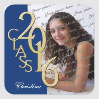 Graduation Class of 2016 Blue and Gold Photo Square Sticker