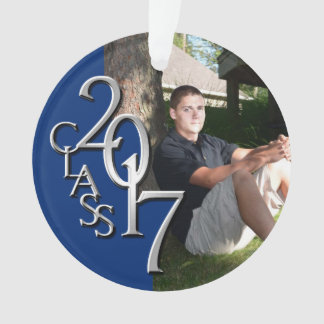 Graduation Class of 2017 Blue and Silver Photo Ornament