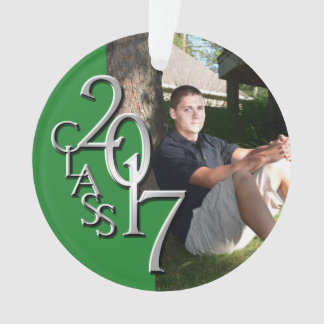 Graduation Class of 2017 Green and Silver Photo Ornament