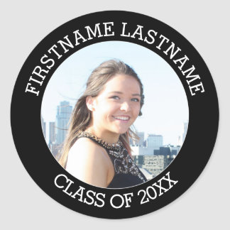Graduation Class of 2017 - Photo and Name Modern Round Sticker