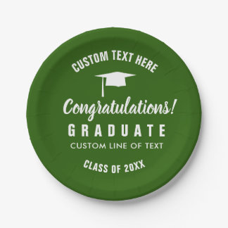 Graduation Class of 2018 Congrats Grad Cap Green Paper Plate