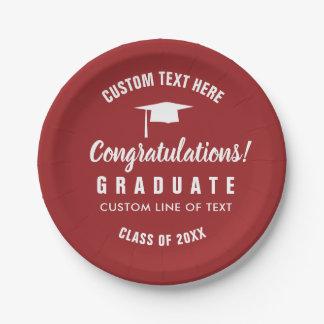Graduation Class of 2018 Congrats Grad Cap Red Paper Plate