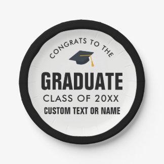 Graduation Class of 2018 Your School Custom Color Paper Plate