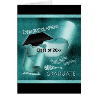 Graduation class of 20xx elegant teal greeting card