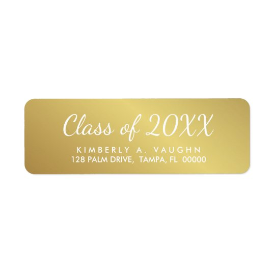 Graduation Class of Gold Foil Look Return Address Return Address Label