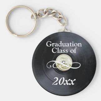 Graduation class of vintage basic round button key ring