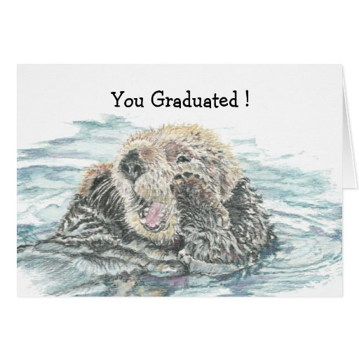 Graduation Congrats Cute Excited Otter Humorous Greeting Cards