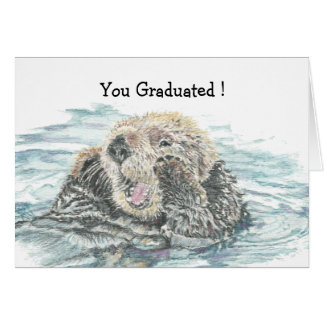 Graduation Congrats Cute Excited Otter Humorous Greeting Card