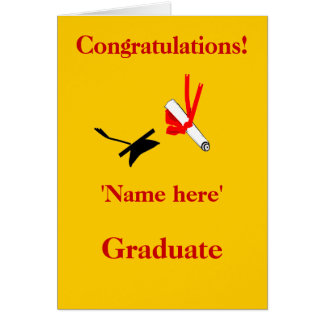 Graduation congratulations, add name front greeting card