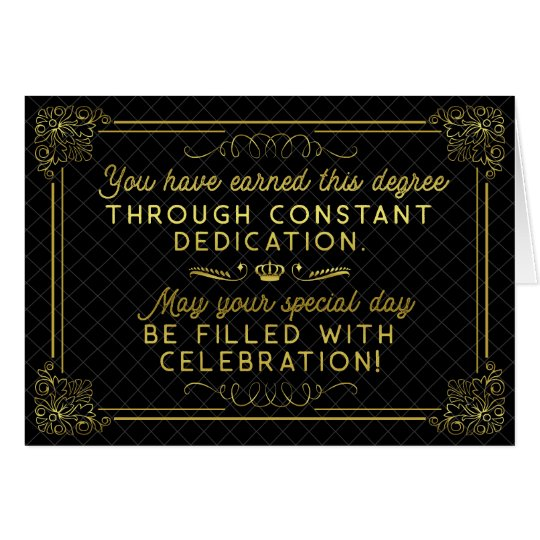 Graduation Congratulations Black Gold Formal Poem Card
