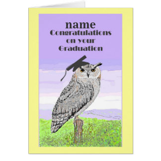Graduation Congratulations Owl Card Add name front
