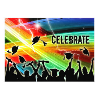 Graduation Crowd Electric Lightning Celebrate Personalized Announcements