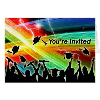 Graduation Crowd Electric Lightning You re Invited Cards