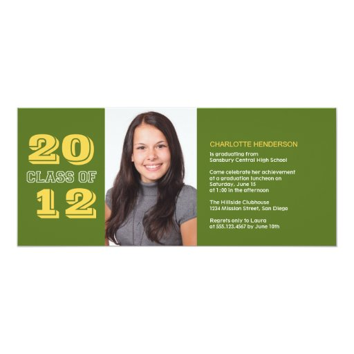 Graduation custom photo invitation green class of